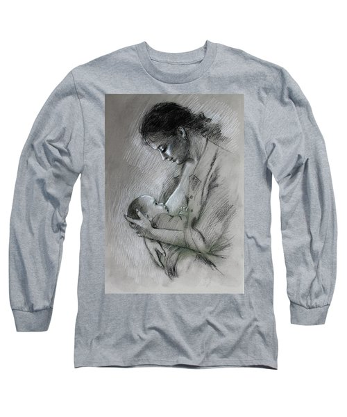 Long Sleeve T-Shirt featuring the drawing Mother And Baby by Viola El