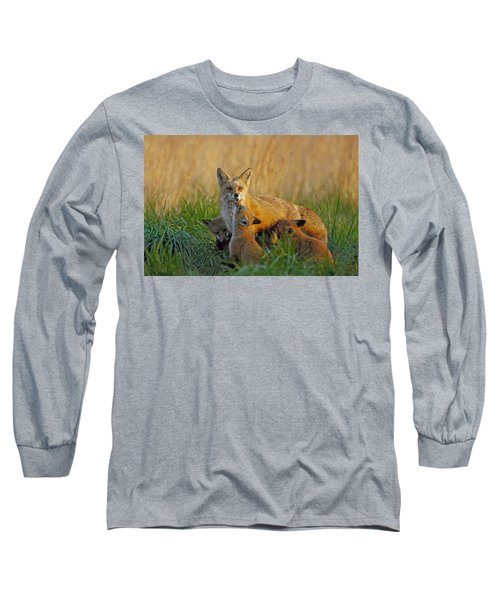 Mother Fox And Kits Long Sleeve T-Shirt