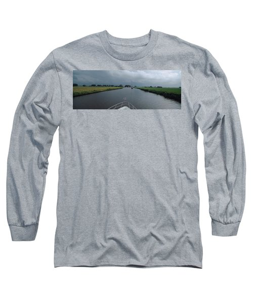 Motorboat In A Canal, Friesland Long Sleeve T-Shirt