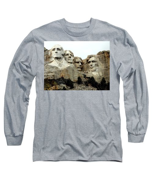 Mount Rushmore Presidents Long Sleeve T-Shirt by Clarice  Lakota