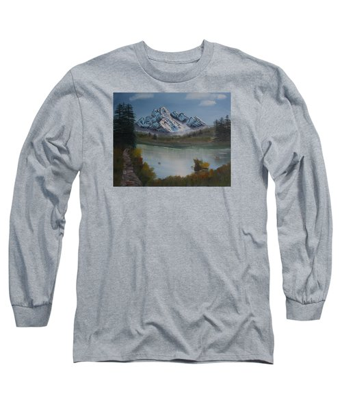 Long Sleeve T-Shirt featuring the painting Mountain And River by Ian Donley