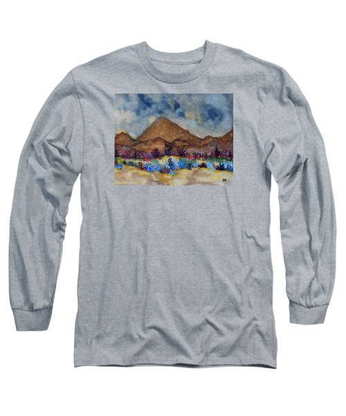 Long Sleeve T-Shirt featuring the painting Mountain Desert Scene by Connie Valasco