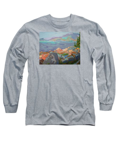 Long Sleeve T-Shirt featuring the painting Mt. Desert From Schoodic Point by Francine Frank