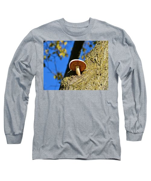 Long Sleeve T-Shirt featuring the photograph Mushroom In A Tree by Ally  White