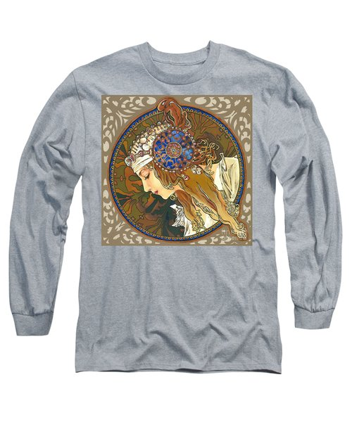 My Acrylic Painting As Interpretation Of Alphonse Mucha- Byzantine Head. The Blonde. Diagonal Frame. Long Sleeve T-Shirt