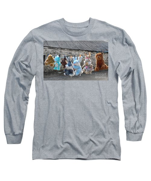 Long Sleeve T-Shirt featuring the photograph Toys On Washing Line by Nina Ficur Feenan