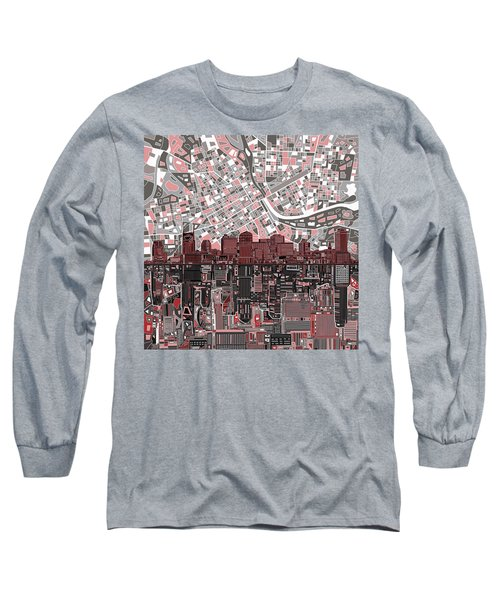 Nashville Skyline Abstract 3 Long Sleeve T-Shirt by Bekim Art