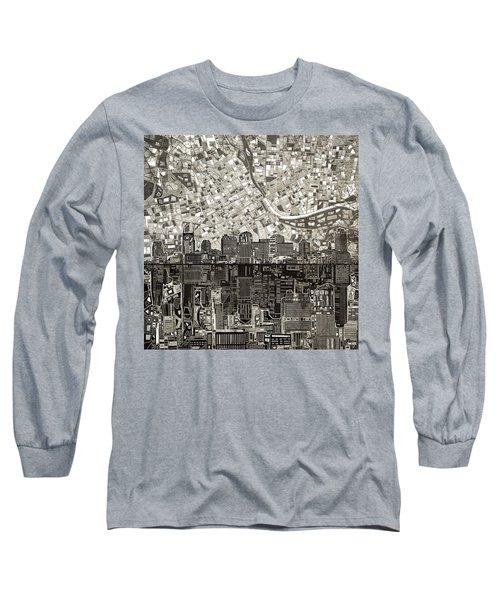 Nashville Skyline Abstract 5 Long Sleeve T-Shirt