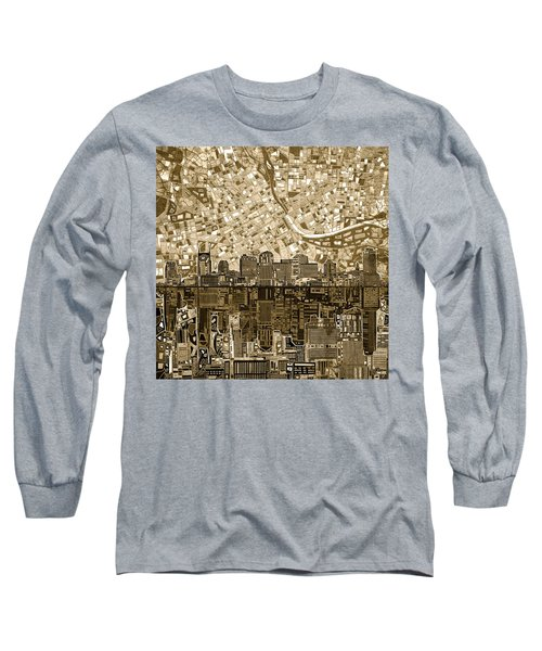 Nashville Skyline Abstract 6 Long Sleeve T-Shirt