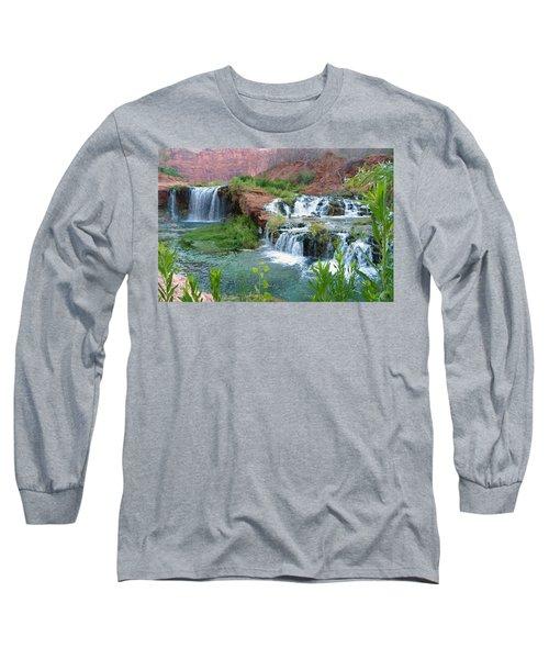 Long Sleeve T-Shirt featuring the photograph Navajo Falls by Alan Socolik