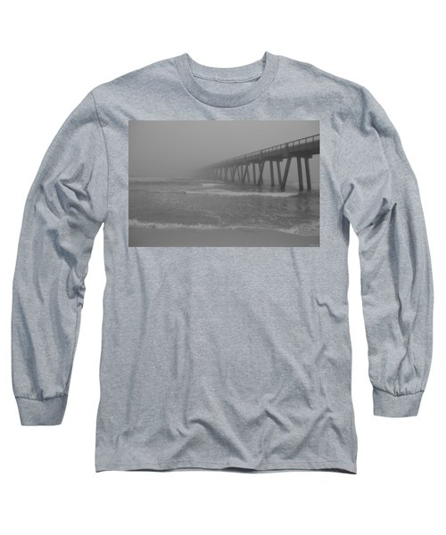 Navarre Pier Disappears In The Bw Fog Long Sleeve T-Shirt