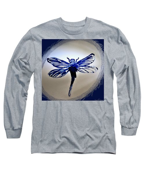 Navy Dragonfly Alcohol Inks  Long Sleeve T-Shirt by Danielle  Parent