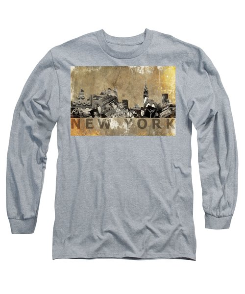 New York City Grunge Long Sleeve T-Shirt by Suzanne Powers