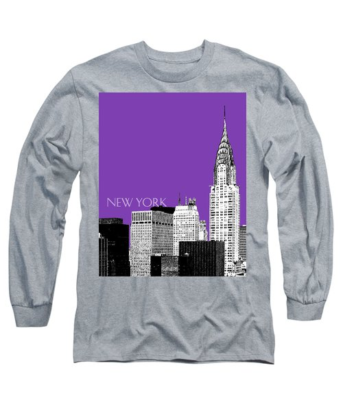 New York Skyline Chrysler Building - Purple Long Sleeve T-Shirt