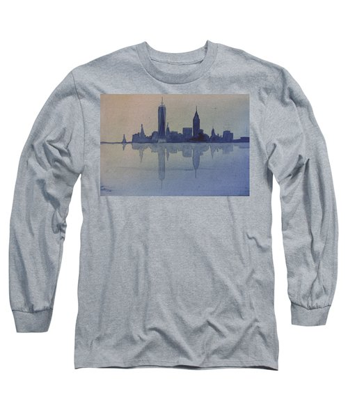 New York Skyline  Long Sleeve T-Shirt by Donna Walsh