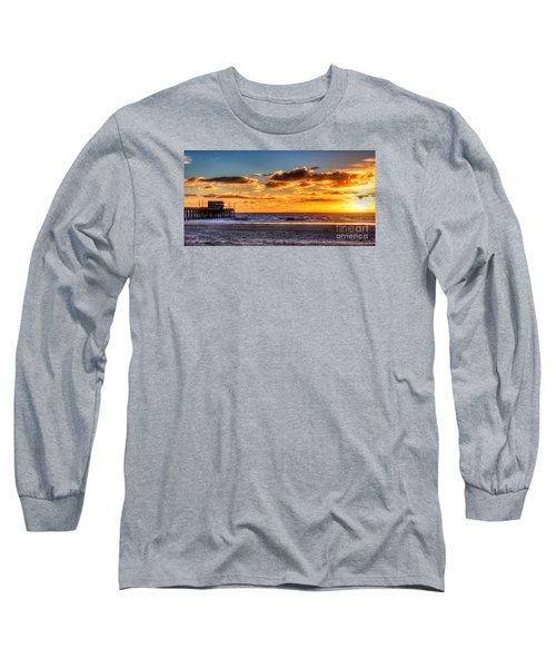 Newport Beach Pier - Sunset Long Sleeve T-Shirt by Jim Carrell