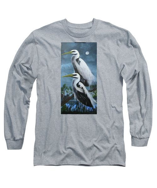 Night Egrets Long Sleeve T-Shirt by Catherine Swerediuk