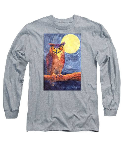Night Owl Long Sleeve T-Shirt by Nancy Jolley