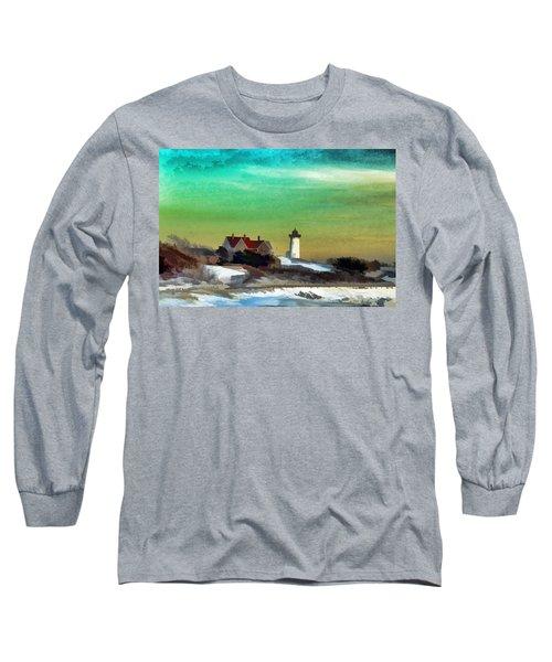 Nobska Lighhouse In Winter Long Sleeve T-Shirt