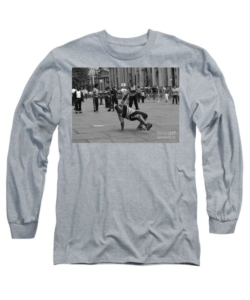 Long Sleeve T-Shirt featuring the photograph Ny City Street Performer by Angela DeFrias
