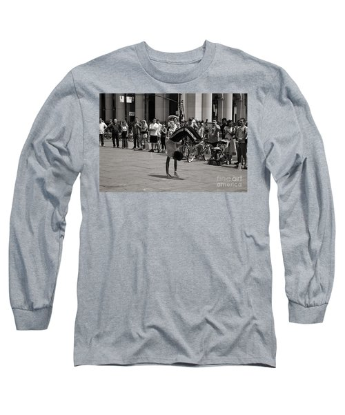 Long Sleeve T-Shirt featuring the photograph Nycity Street Performer by Angela DeFrias