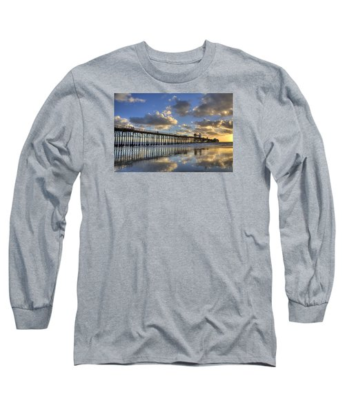 Oceanside Pier Sunset Reflection Long Sleeve T-Shirt by Peter Tellone