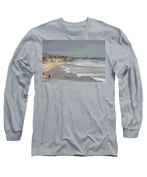 Oceanside South Of Pier Long Sleeve T-Shirt by Tom Janca