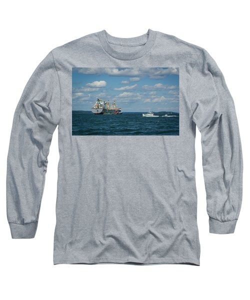 Long Sleeve T-Shirt featuring the photograph Oil Tanker And Lobster Boat by Jane Luxton