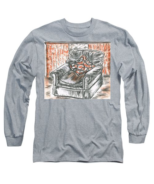 Long Sleeve T-Shirt featuring the drawing Old Cozy Chair by Teresa White