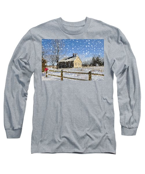Long Sleeve T-Shirt featuring the photograph Old Kansas Schoolhouse by Liane Wright