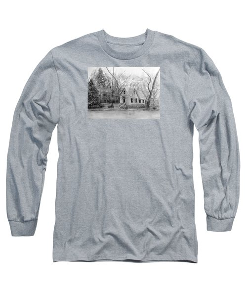 Old Library On Lake Afton - Winter Long Sleeve T-Shirt by Loretta Luglio