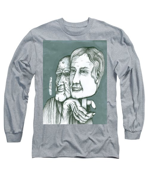 Old Man Behind A Young Mans Face Long Sleeve T-Shirt