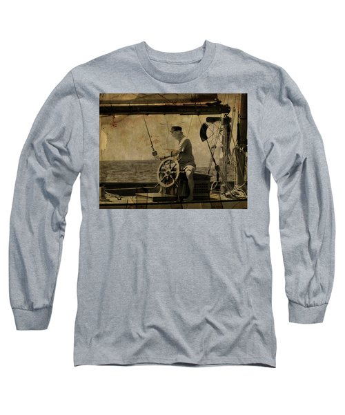 Long Sleeve T-Shirt featuring the photograph old sailor A vintage processed photo of a sailor sitted behind the rudder in Mediterranean sailing by Pedro Cardona