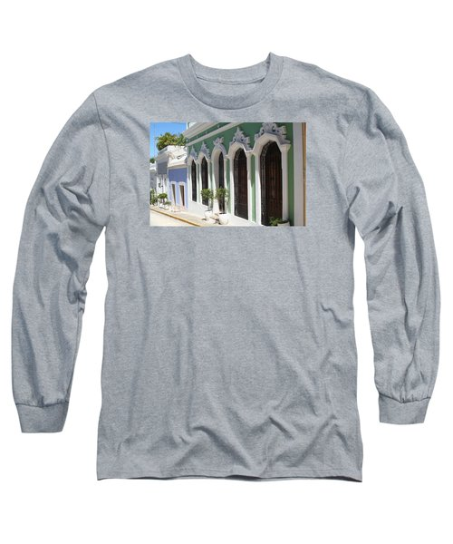 Old San Juan Street Long Sleeve T-Shirt by The Art of Alice Terrill