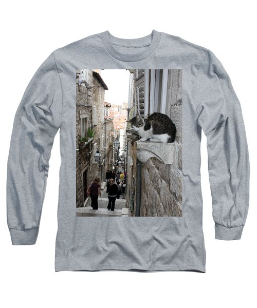 Old Town Alley Cat Long Sleeve T-Shirt by David Nicholls