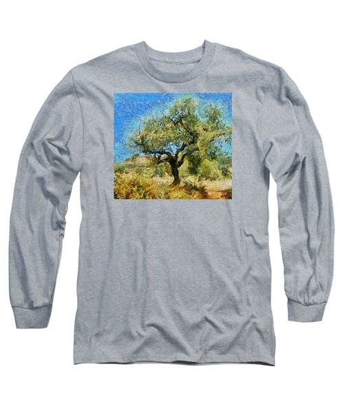 Olive Tree On Van Gogh Manner Long Sleeve T-Shirt by Dragica  Micki Fortuna