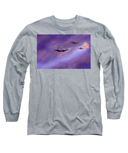 Long Sleeve T-Shirt featuring the painting Sky  Patrol by Hartmut Jager