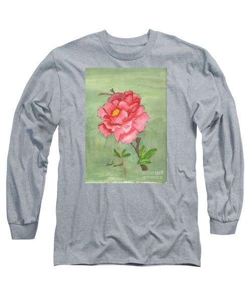 One Rose Long Sleeve T-Shirt by Pamela  Meredith