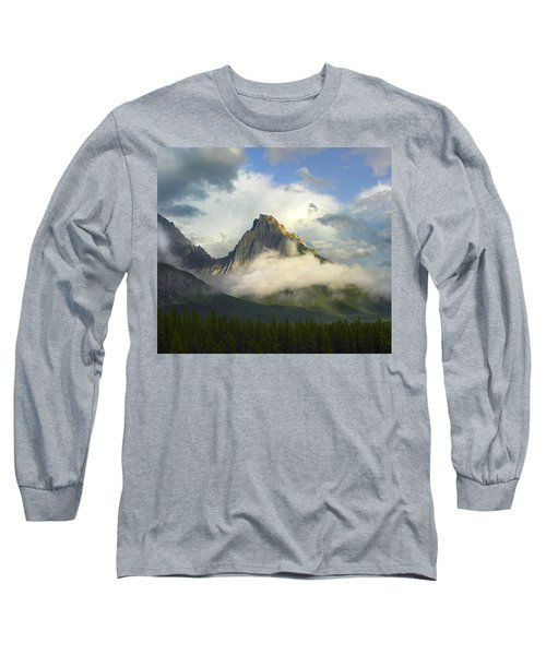 Opal Range In Fog Kananaskis Country Long Sleeve T-Shirt