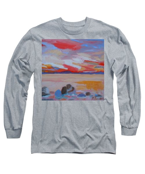 Long Sleeve T-Shirt featuring the painting Orange Sunset by Francine Frank