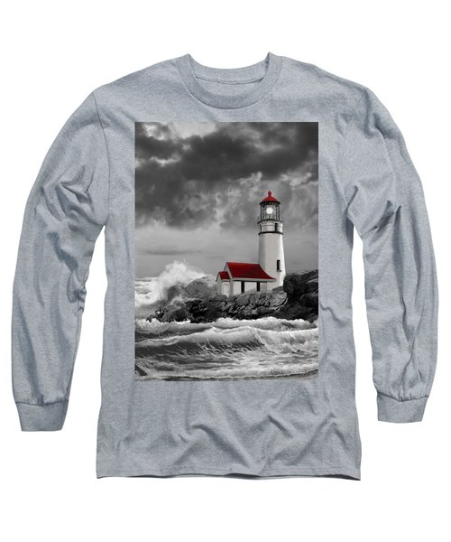 Oregon Lighthouse Cape Blanco In Black White And Red Long Sleeve T-Shirt