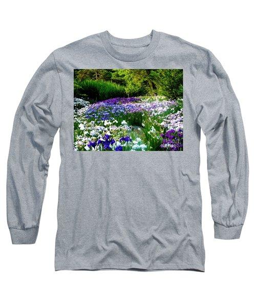 Oriental Ensata Iris Garden Long Sleeve T-Shirt by Carol F Austin
