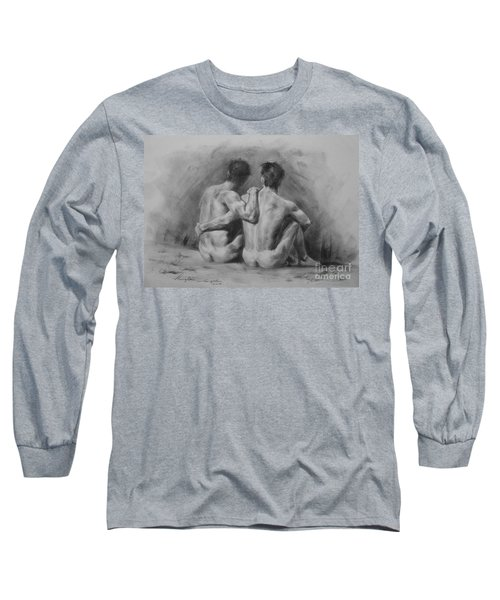 Original Drawing Sketch Charcoal Chalk Male Nude Gay Man Art Pencil On Paper By Hongtao Long Sleeve T-Shirt