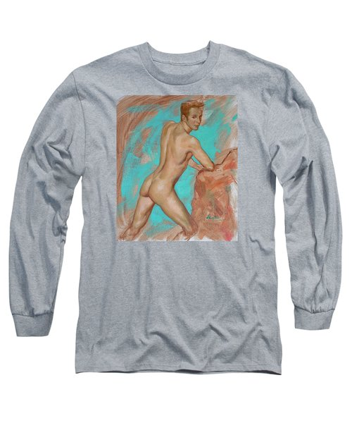 Original Impression Man Body Oil Painting Male Nude On Canvas#16-2-6-05 Long Sleeve T-Shirt by Hongtao     Huang