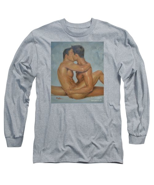 Original Man Oil Painting Gay Body Art- Two Male Nude On Canvas Long Sleeve T-Shirt