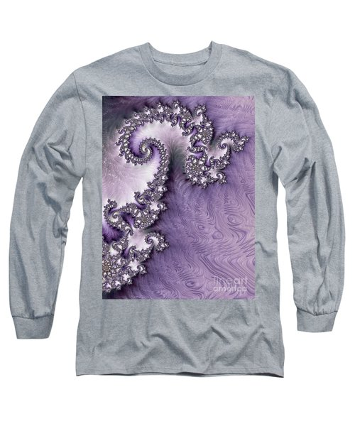 Ornate Lavender Fractal Abstract One  Long Sleeve T-Shirt