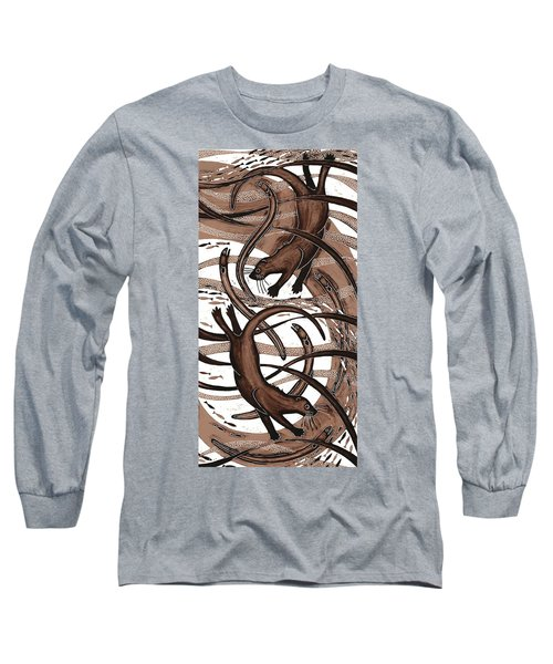 Otter With Eel, 2013 Woodcut Long Sleeve T-Shirt