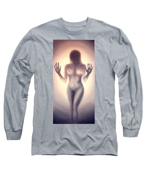 Long Sleeve T-Shirt featuring the photograph Outsider Series - Trapped Behind The Glass - In Sepia by Lilia D
