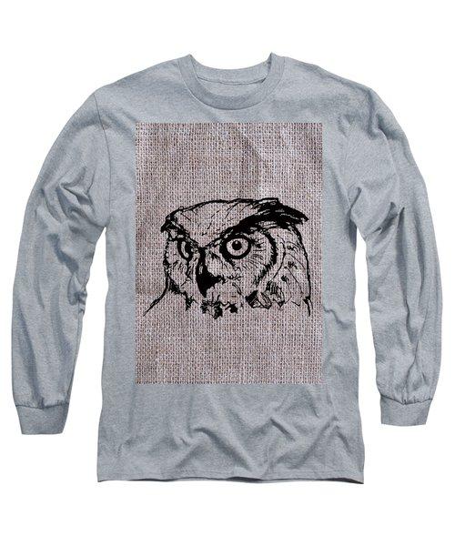 Owl On Burlap Long Sleeve T-Shirt
