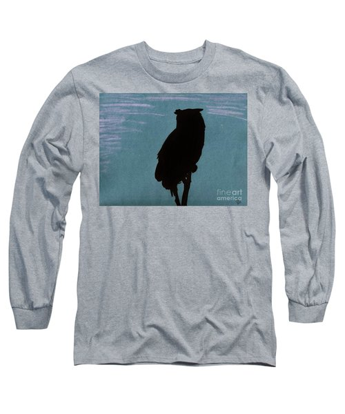 Long Sleeve T-Shirt featuring the drawing Owl Silhouette by D Hackett